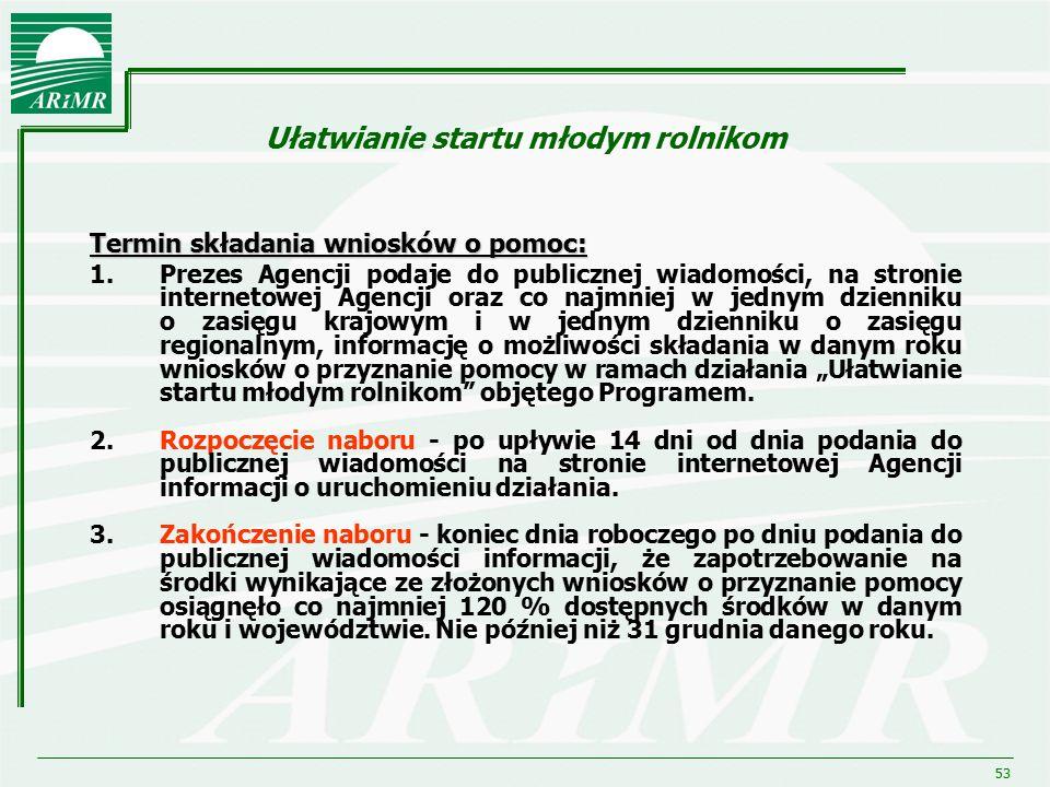 53 Ułatwianie startu młodym rolnikom Termin składania wniosków o pomoc: 1.Prezes Agencji podaje do publicznej wiadomości, na stronie internetowej Agen