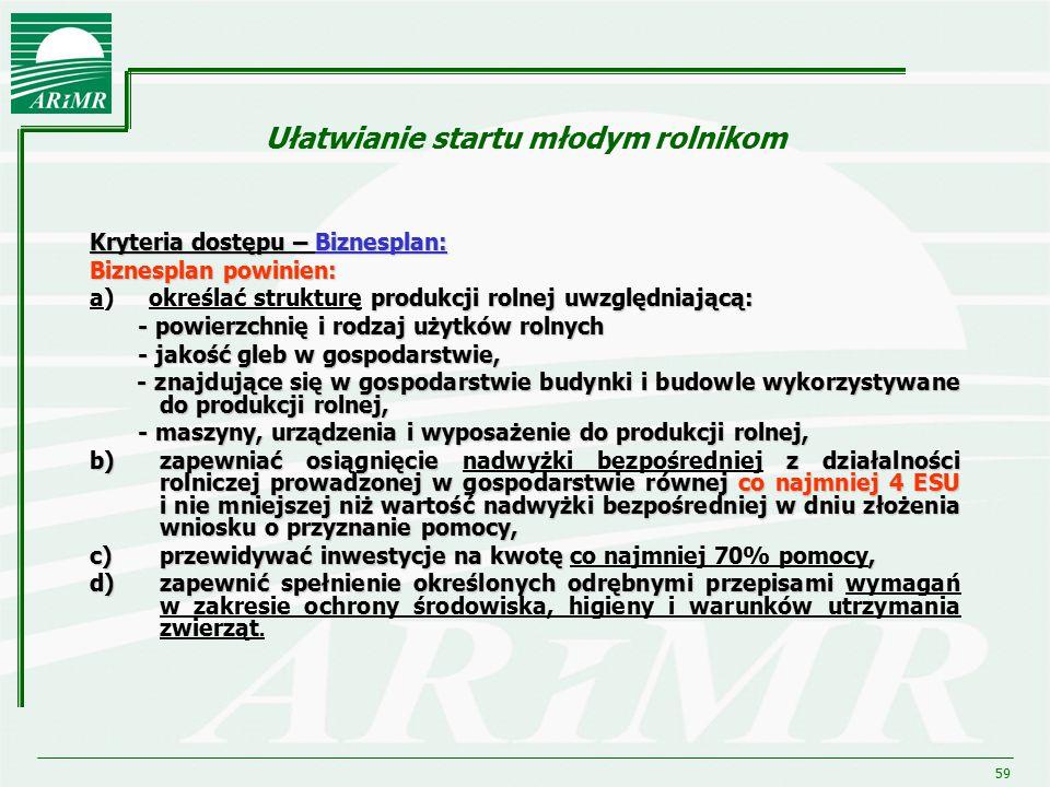 59 Ułatwianie startu młodym rolnikom Kryteria dostępu – Biznesplan: Biznesplan powinien: produkcji rolnej uwzględniającą: a) określać strukturę produk