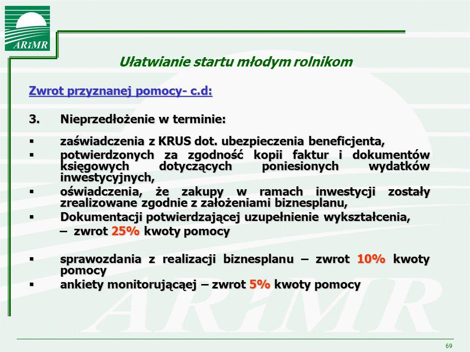 69 Ułatwianie startu młodym rolnikom Zwrot przyznanej pomocy- c.d: 3.Nieprzedłożenie w terminie:  zaświadczenia z KRUS dot. ubezpieczenia beneficjent