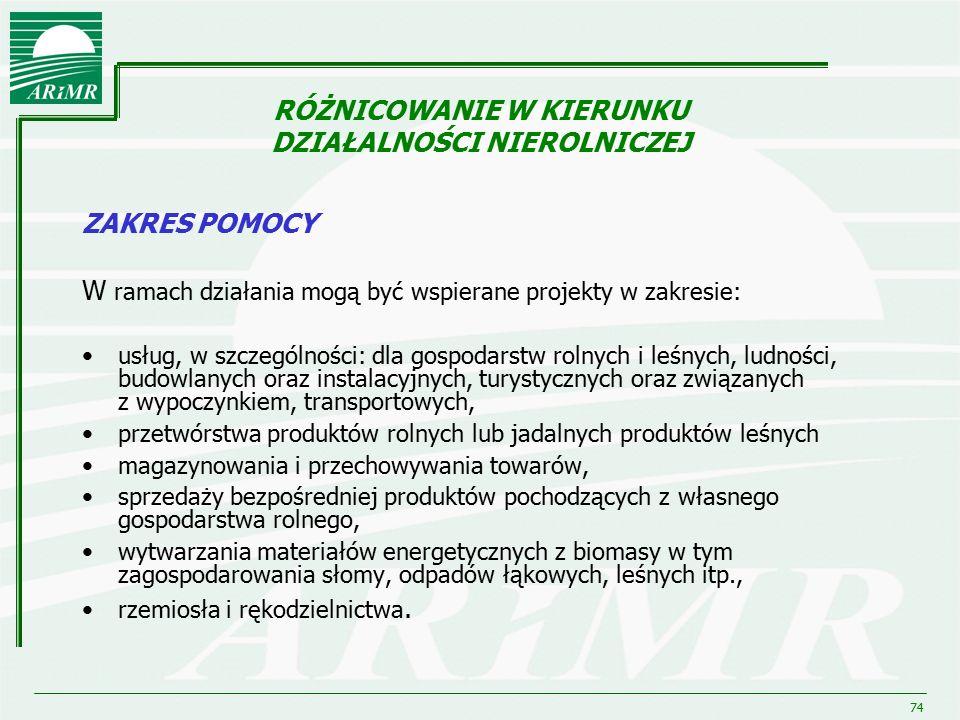74 RÓŻNICOWANIE W KIERUNKU DZIAŁALNOŚCI NIEROLNICZEJ ZAKRES POMOCY W ramach działania mogą być wspierane projekty w zakresie: usług, w szczególności: