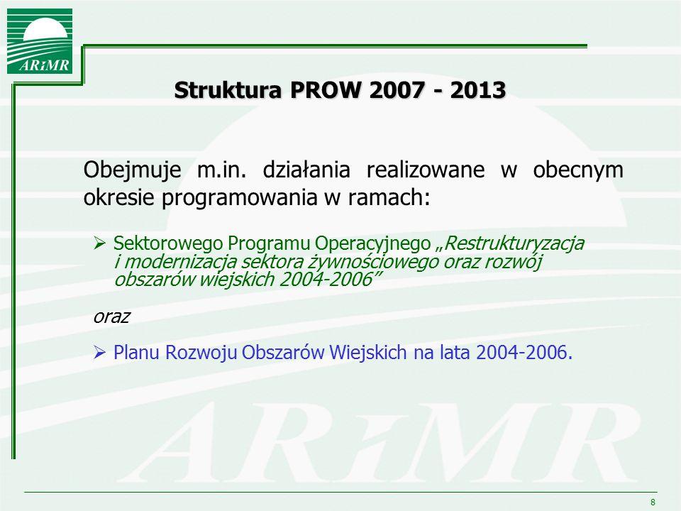 """8 Struktura PROW 2007 - 2013 Obejmuje m.in. działania realizowane w obecnym okresie programowania w ramach:  Sektorowego Programu Operacyjnego """"Restr"""