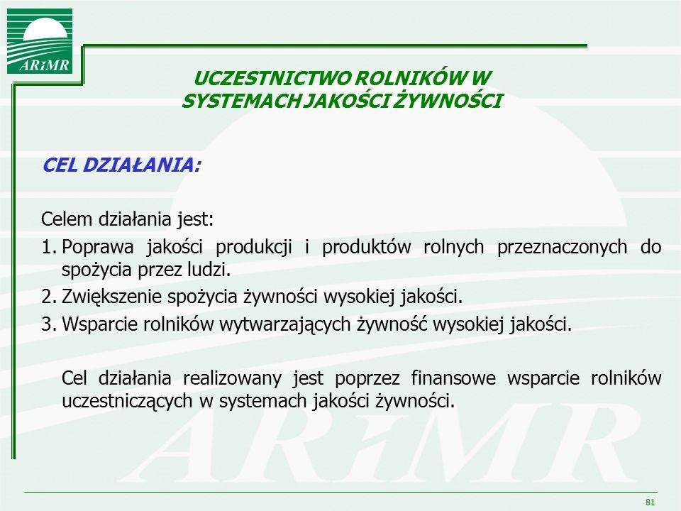 81 CEL DZIAŁANIA: Celem działania jest: 1.Poprawa jakości produkcji i produktów rolnych przeznaczonych do spożycia przez ludzi. 2.Zwiększenie spożycia