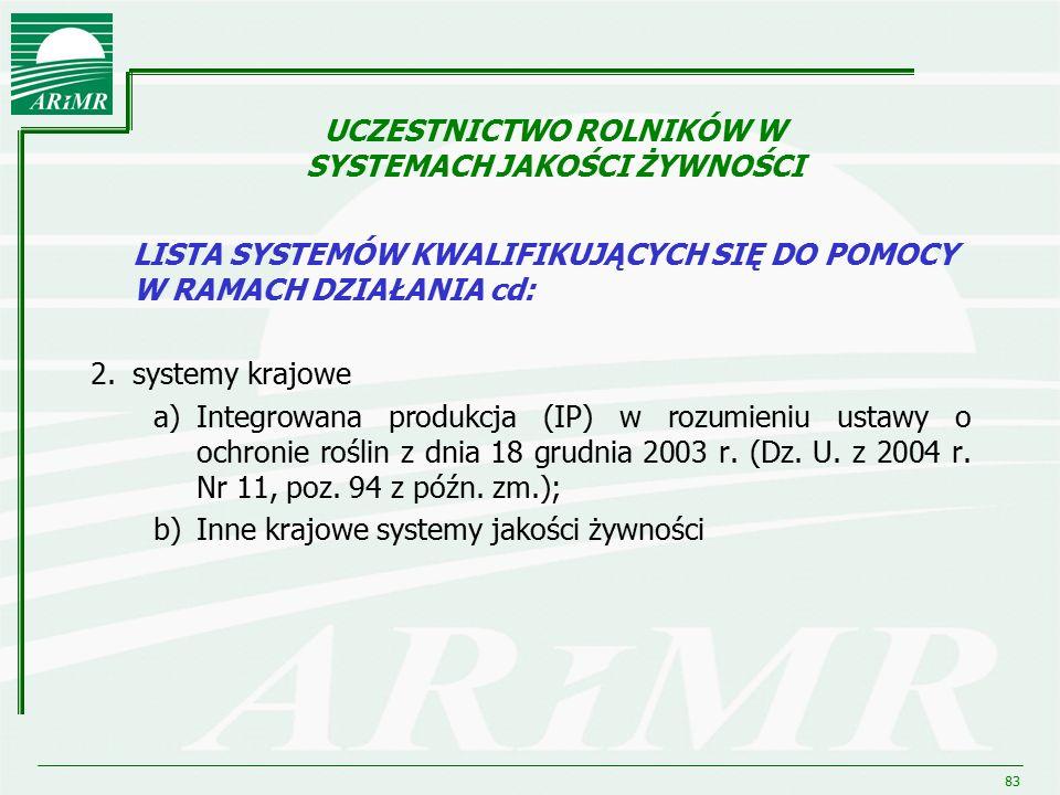 83 LISTA SYSTEMÓW KWALIFIKUJĄCYCH SIĘ DO POMOCY W RAMACH DZIAŁANIA cd: 2.systemy krajowe a)Integrowana produkcja (IP) w rozumieniu ustawy o ochronie r