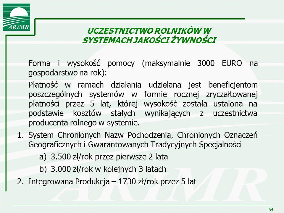 84 Forma i wysokość pomocy (maksymalnie 3000 EURO na gospodarstwo na rok): Płatność w ramach działania udzielana jest beneficjentom poszczególnych sys