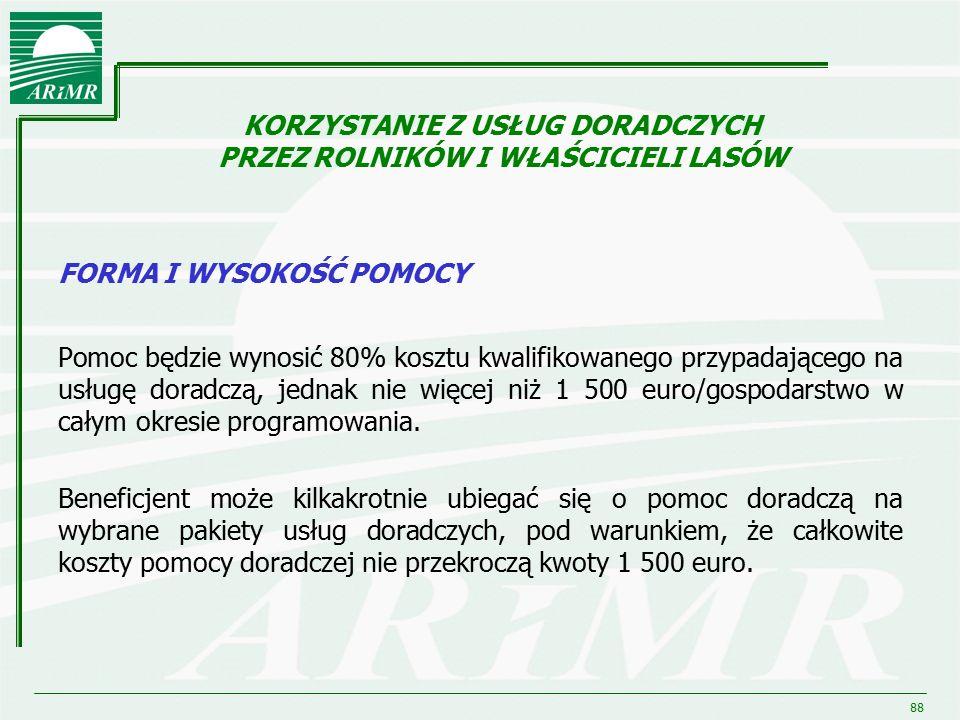 88 FORMA I WYSOKOŚĆ POMOCY Pomoc będzie wynosić 80% kosztu kwalifikowanego przypadającego na usługę doradczą, jednak nie więcej niż 1 500 euro/gospoda