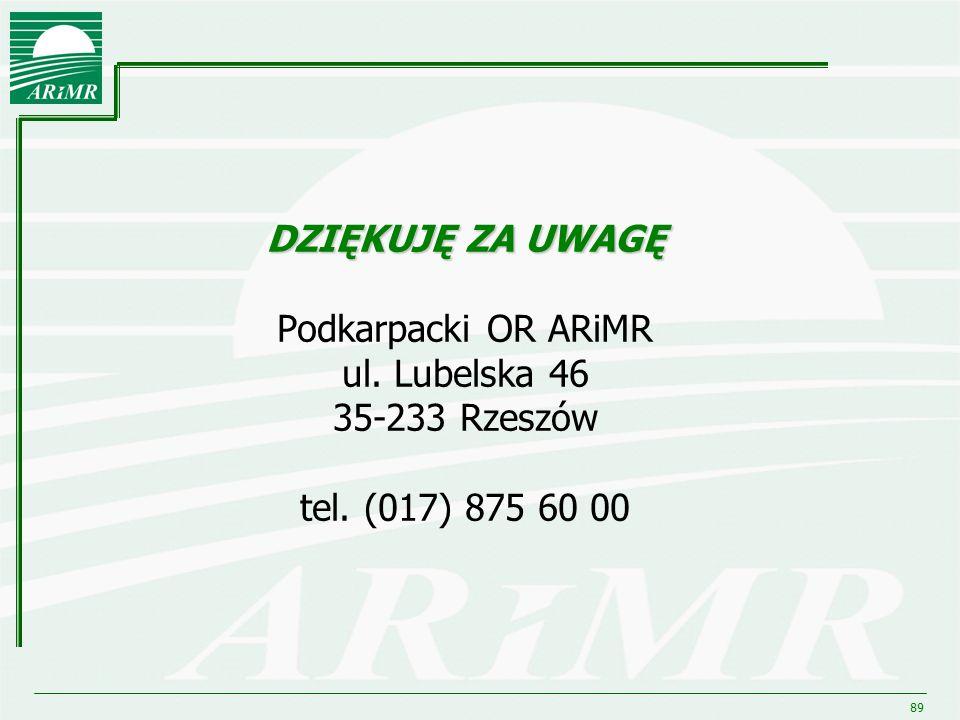 89 DZIĘKUJĘ ZA UWAGĘ DZIĘKUJĘ ZA UWAGĘ Podkarpacki OR ARiMR ul. Lubelska 46 35-233 Rzeszów tel. (017) 875 60 00