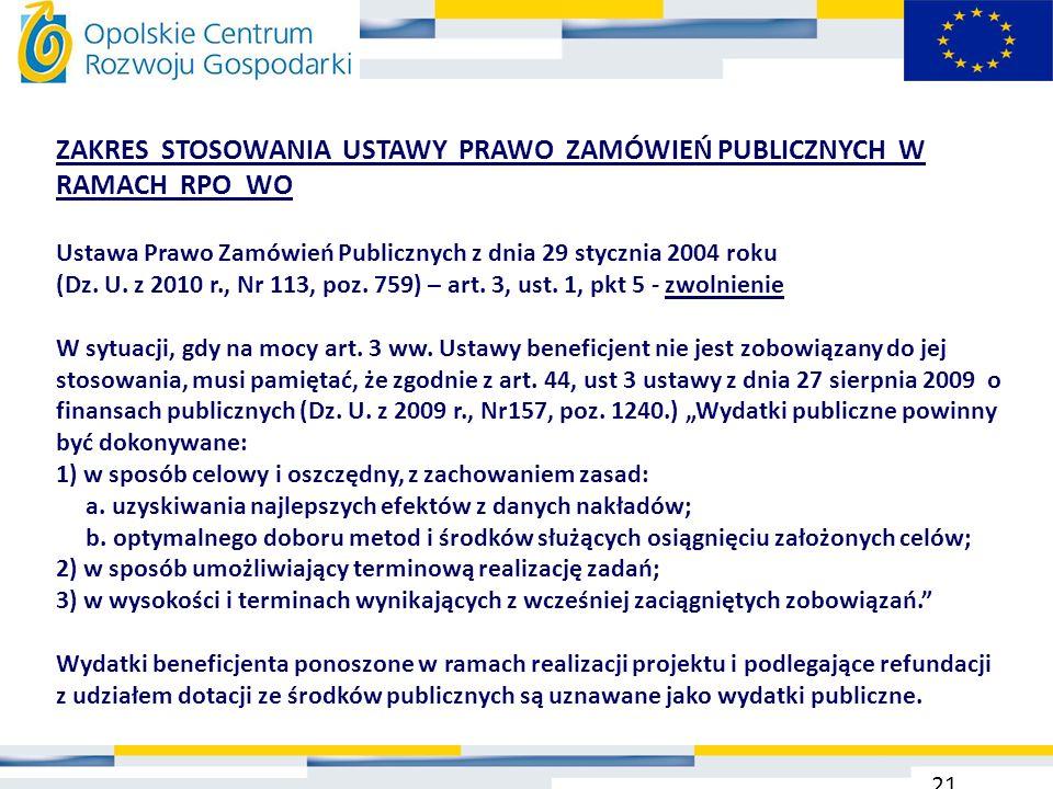 ZAKRES STOSOWANIA USTAWY PRAWO ZAMÓWIEŃ PUBLICZNYCH W RAMACH RPO WO Ustawa Prawo Zamówień Publicznych z dnia 29 stycznia 2004 roku (Dz. U. z 2010 r.,
