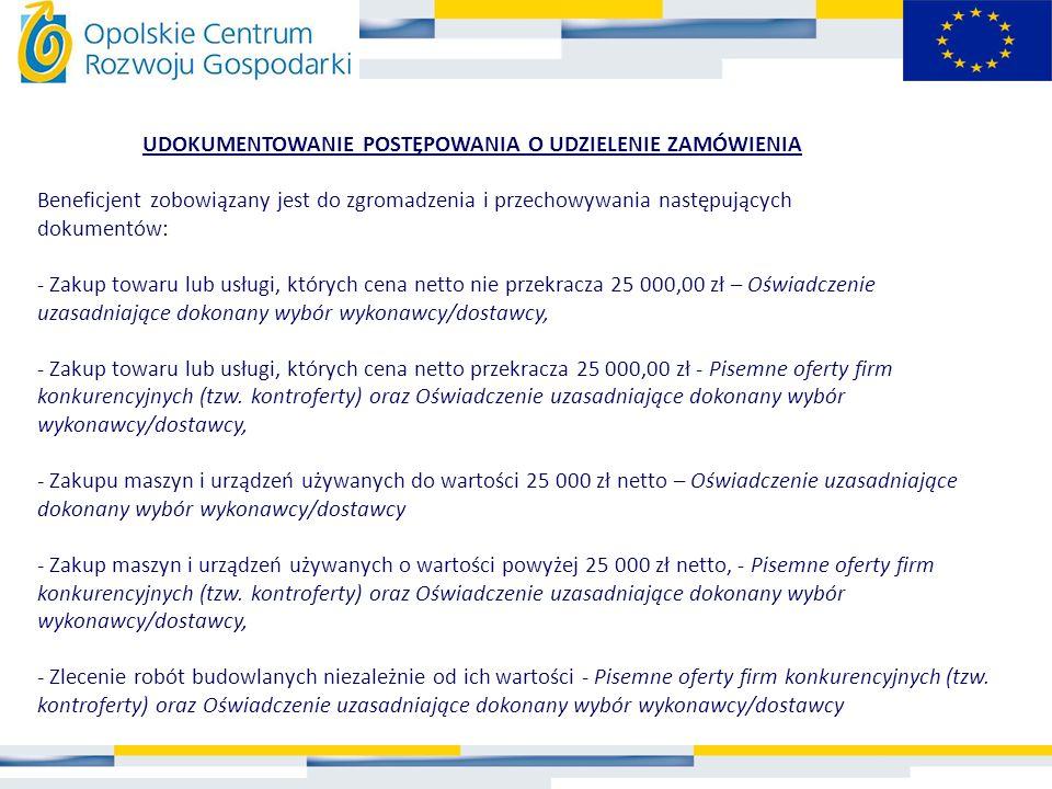 UDOKUMENTOWANIE POSTĘPOWANIA O UDZIELENIE ZAMÓWIENIA Beneficjent zobowiązany jest do zgromadzenia i przechowywania następujących dokumentów: - Zakup t