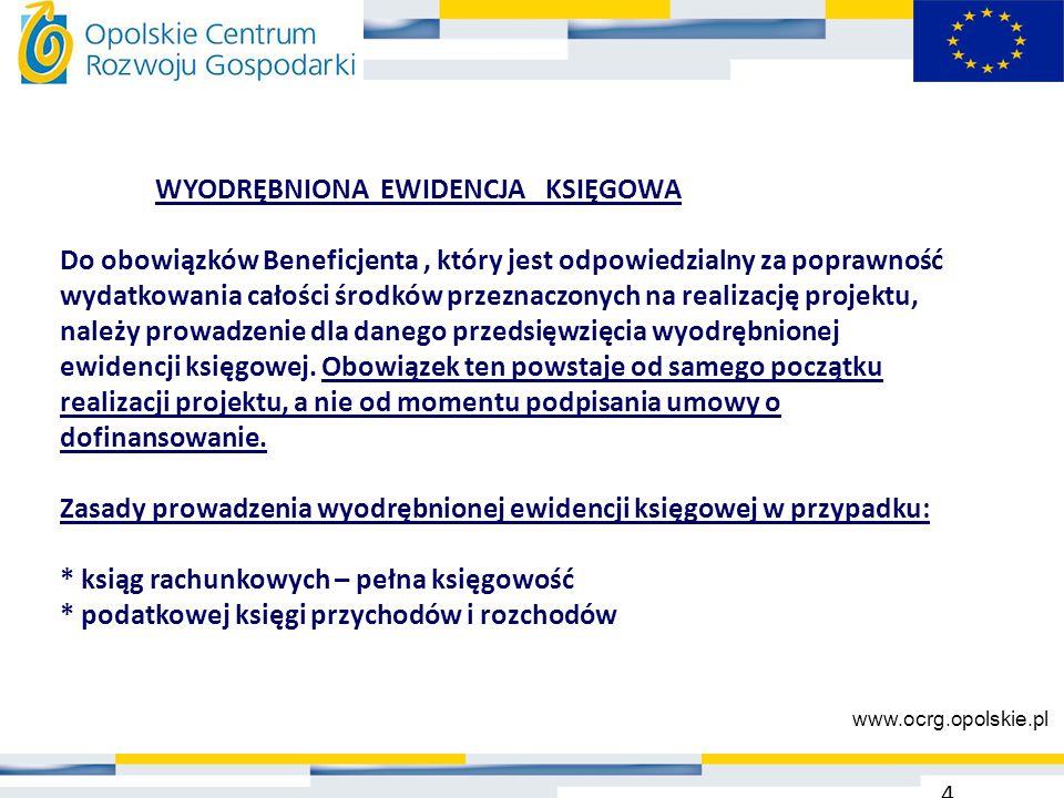WYODRĘBNIONA EWIDENCJA KSIĘGOWA Do obowiązków Beneficjenta, który jest odpowiedzialny za poprawność wydatkowania całości środków przeznaczonych na rea