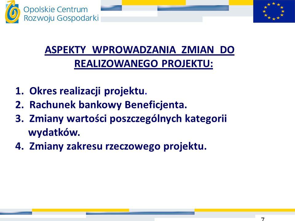 ASPEKTY WPROWADZANIA ZMIAN DO REALIZOWANEGO PROJEKTU: 1. Okres realizacji projektu. 2. Rachunek bankowy Beneficjenta. 3. Zmiany wartości poszczególnyc