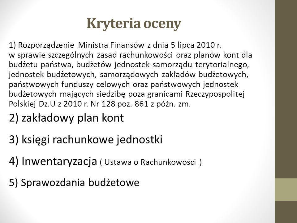 Kryteria oceny 1) Rozporządzenie Ministra Finansów z dnia 5 lipca 2010 r.