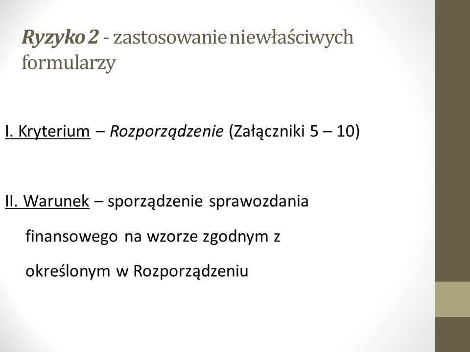 Ryzyko 2 - zastosowanie niewłaściwych formularzy I.