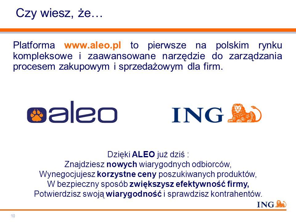 Do not put content on the brand signature area Orange RGB= 255.102.000 Light blue RGB= 180.195.225 Dark blue RGB= 000.000.102 Grey RGB= 150.150.150 ING colour balance Guideline www.ing-presentations.intranet Czy wiesz, że… Platforma www.aleo.pl to pierwsze na polskim rynku kompleksowe i zaawansowane narzędzie do zarządzania procesem zakupowym i sprzedażowym dla firm.