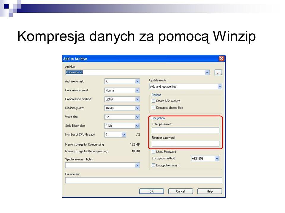 Kompresja danych za pomocą Winzip