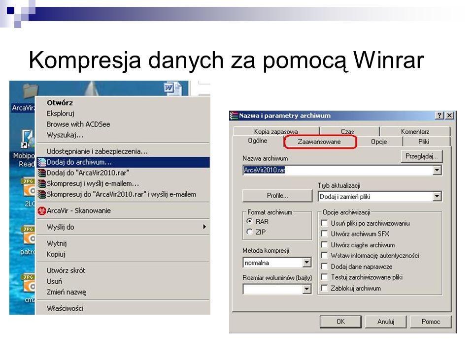 Kompresja danych za pomocą Winrar