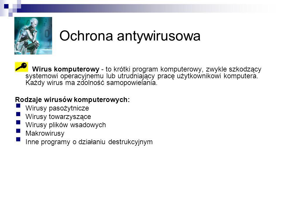 Ochrona antywirusowa Wirus komputerowy - to krótki program komputerowy, zwykle szkodzący systemowi operacyjnemu lub utrudniający pracę użytkownikowi komputera.