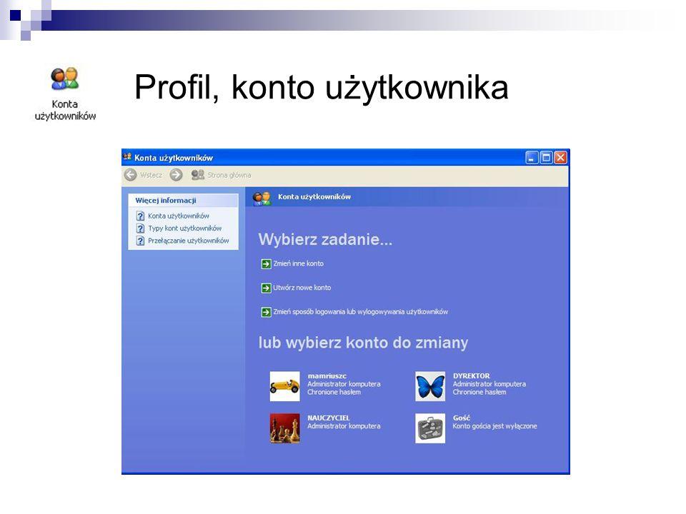 Profil, konto użytkownika