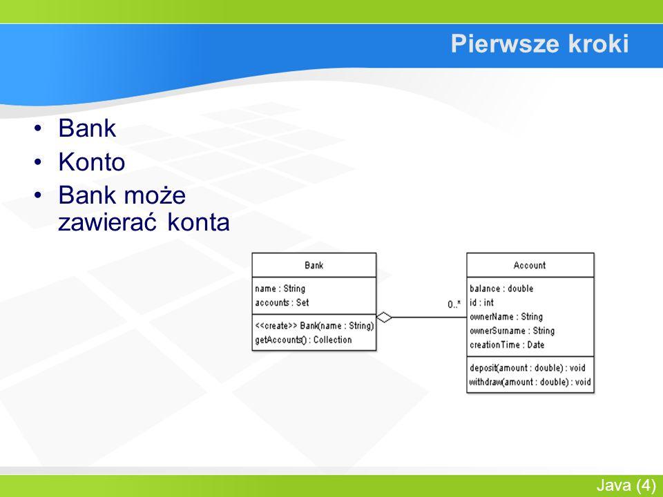 Java (5) Zakodujmy to Prosta klasa banku public class Bank { private String name; private Set accounts; public Bank(...) {...