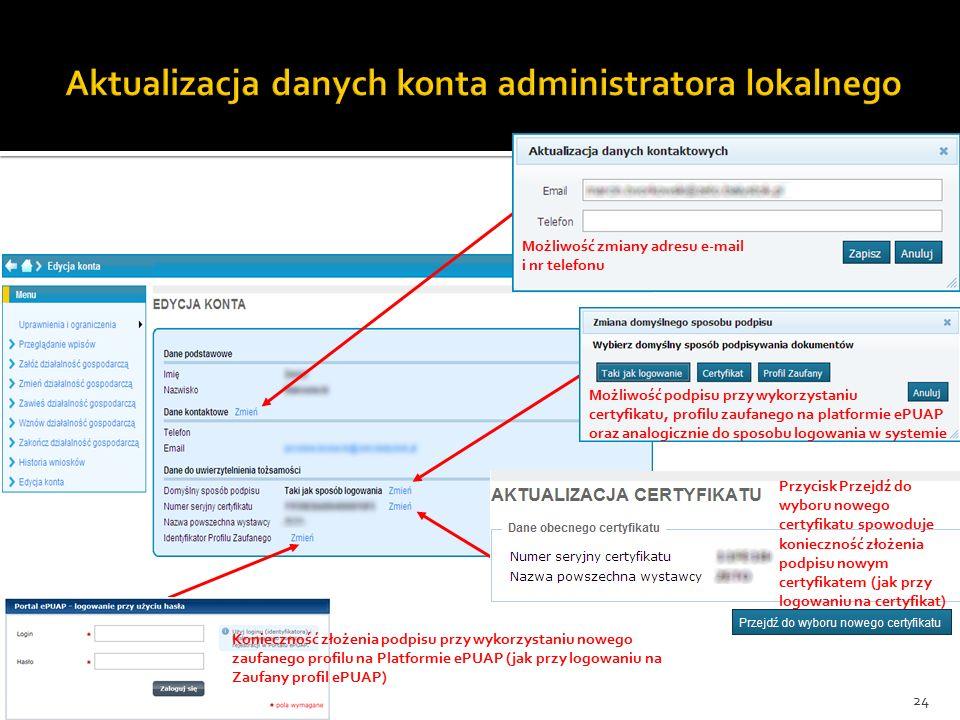 Możliwość zmiany adresu e-mail i nr telefonu Możliwość podpisu przy wykorzystaniu certyfikatu, profilu zaufanego na platformie ePUAP oraz analogicznie do sposobu logowania w systemie Przycisk Przejdź do wyboru nowego certyfikatu spowoduje konieczność złożenia podpisu nowym certyfikatem (jak przy logowaniu na certyfikat) Konieczność złożenia podpisu przy wykorzystaniu nowego zaufanego profilu na Platformie ePUAP (jak przy logowaniu na Zaufany profil ePUAP) 24