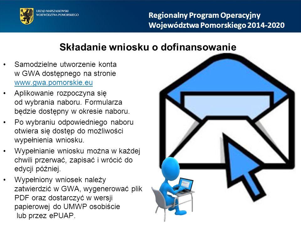 Samodzielne utworzenie konta w GWA dostępnego na stronie www.gwa.pomorskie.eu Aplikowanie rozpoczyna się od wybrania naboru.