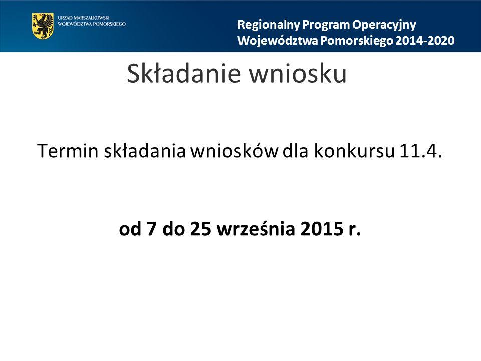 Składanie wniosku Termin składania wniosków dla konkursu 11.4.