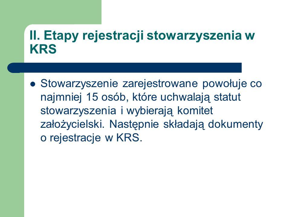 II. Etapy rejestracji stowarzyszenia w KRS Stowarzyszenie zarejestrowane powołuje co najmniej 15 osób, które uchwalają statut stowarzyszenia i wybiera