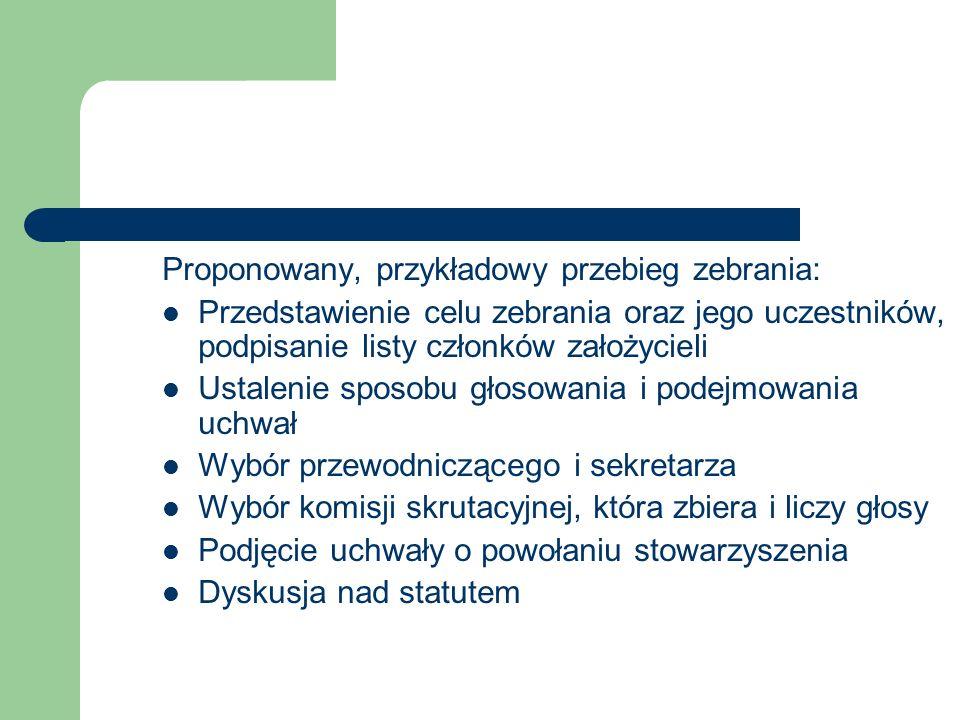 Proponowany, przykładowy przebieg zebrania: Przedstawienie celu zebrania oraz jego uczestników, podpisanie listy członków założycieli Ustalenie sposob