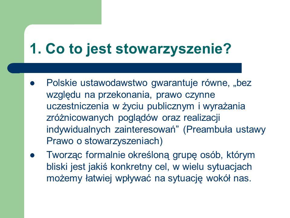 """1. Co to jest stowarzyszenie? Polskie ustawodawstwo gwarantuje równe, """"bez względu na przekonania, prawo czynne uczestniczenia w życiu publicznym i wy"""