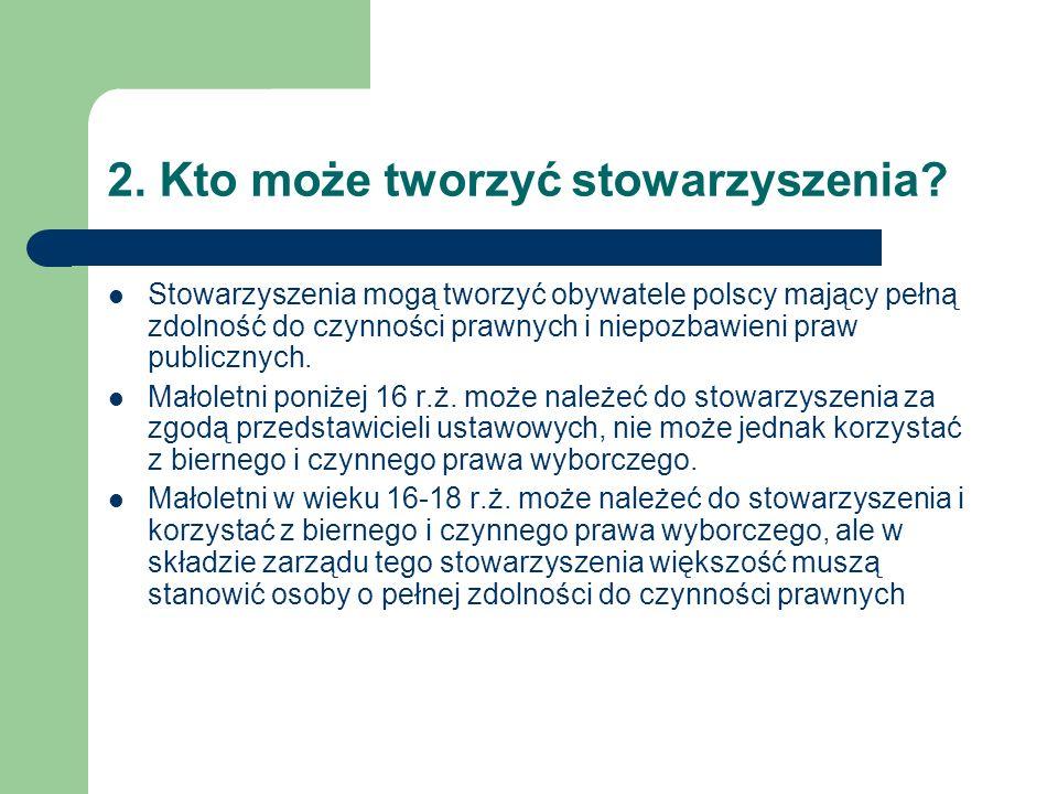 2. Kto może tworzyć stowarzyszenia? Stowarzyszenia mogą tworzyć obywatele polscy mający pełną zdolność do czynności prawnych i niepozbawieni praw publ