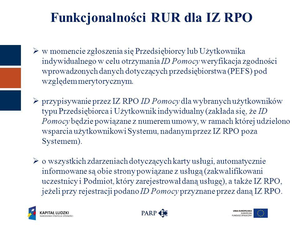 Funkcjonalności RUR dla IZ RPO  w momencie zgłoszenia się Przedsiębiorcy lub Użytkownika indywidualnego w celu otrzymania ID Pomocy weryfikacja zgodności wprowadzonych danych dotyczących przedsiębiorstwa (PEFS) pod względem merytorycznym.