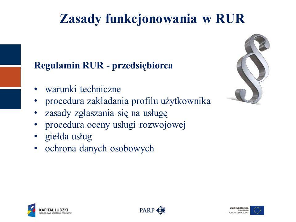Regulamin RUR - przedsiębiorca warunki techniczne procedura zakładania profilu użytkownika zasady zgłaszania się na usługę procedura oceny usługi rozwojowej giełda usług ochrona danych osobowych Zasady funkcjonowania w RUR