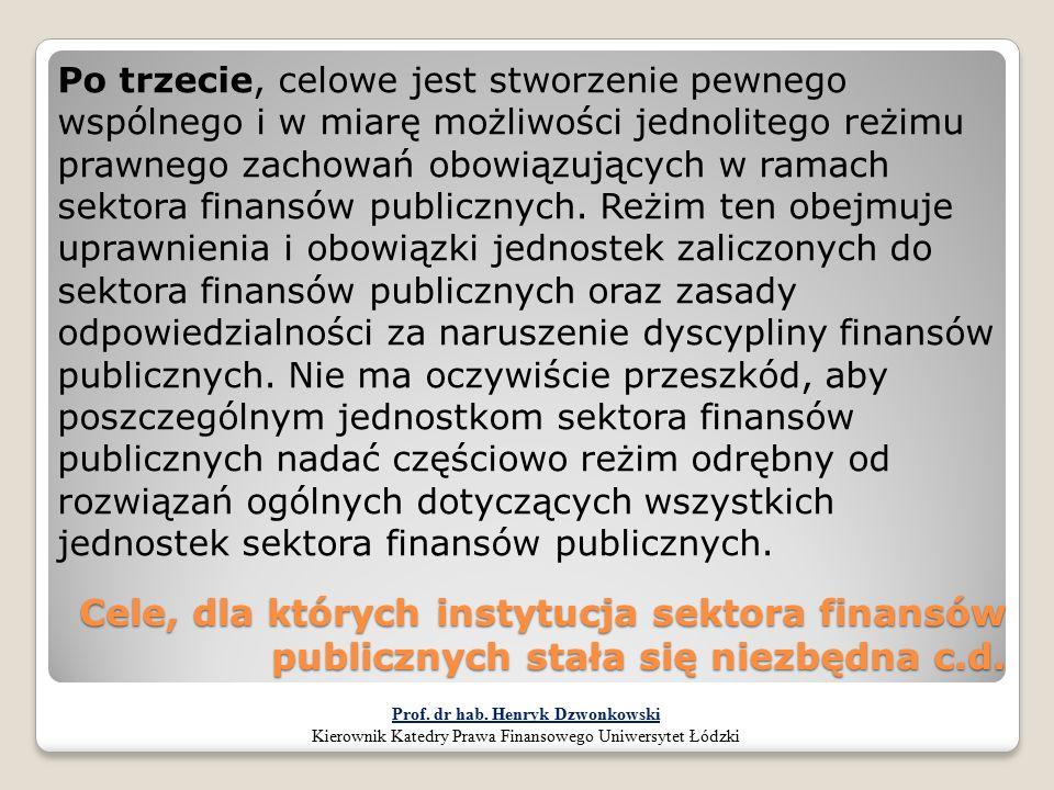 Cele, dla których instytucja sektora finansów publicznych stała się niezbędna c.d. Po trzecie, celowe jest stworzenie pewnego wspólnego i w miarę możl