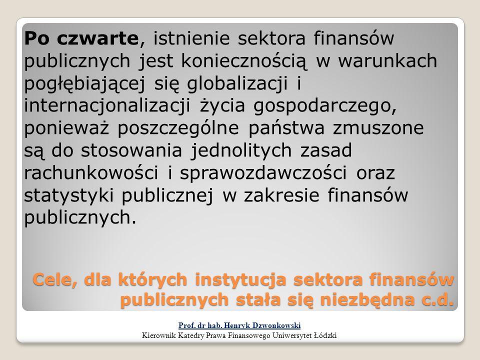 Cele, dla których instytucja sektora finansów publicznych stała się niezbędna c.d. Po czwarte, istnienie sektora finansów publicznych jest koniecznośc