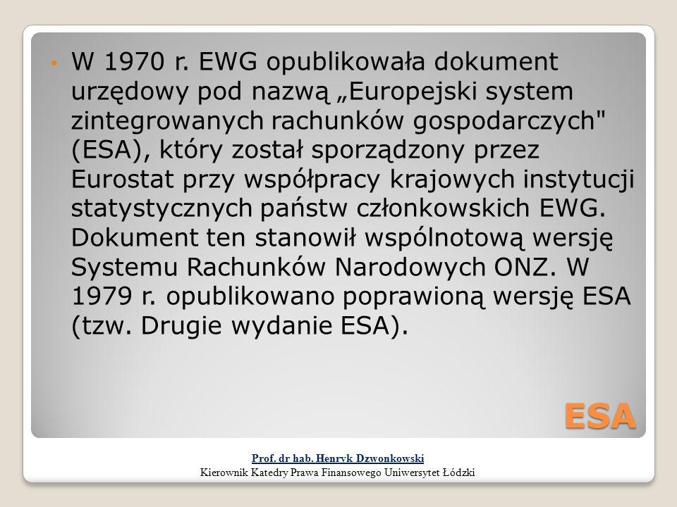 """ESA W 1970 r. EWG opublikowała dokument urzędowy pod nazwą """"Europejski system zintegrowanych rachunków gospodarczych"""