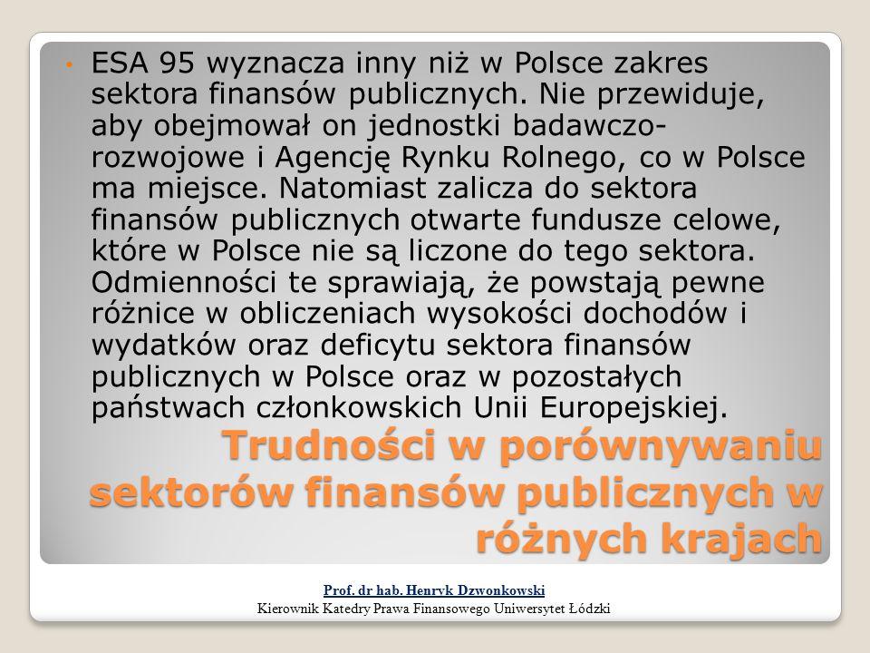 Trudności w porównywaniu sektorów finansów publicznych w różnych krajach ESA 95 wyznacza inny niż w Polsce zakres sektora finansów publicznych. Nie pr
