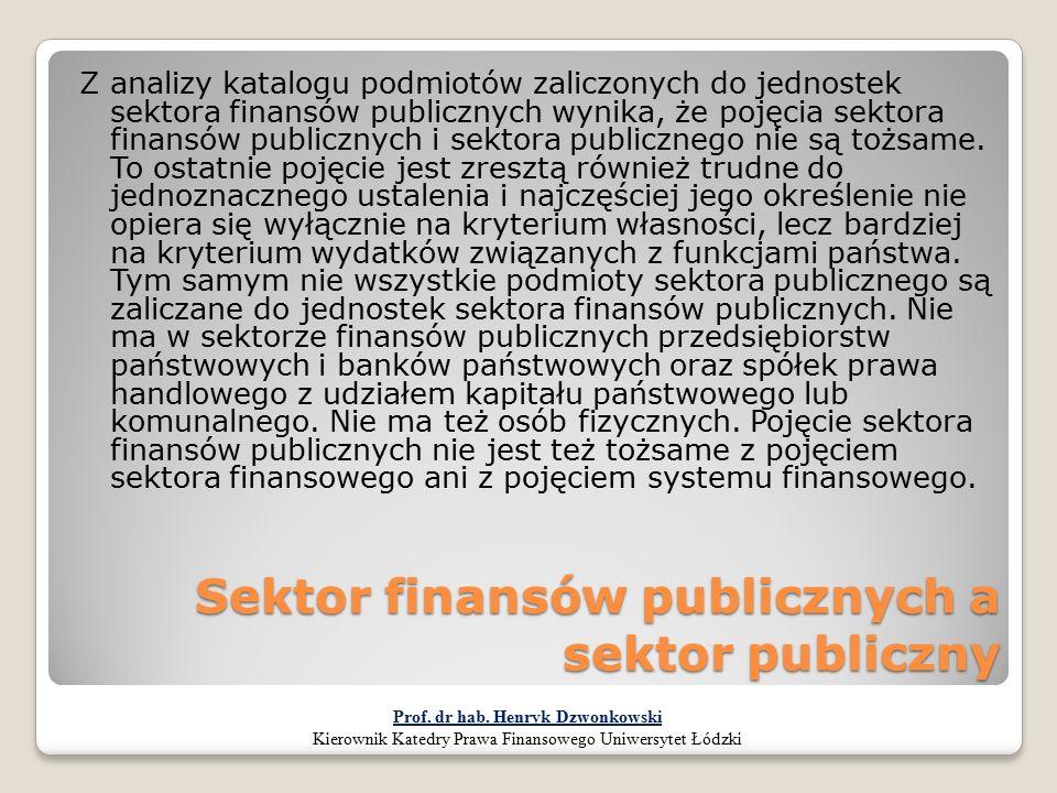 Sektor finansów publicznych a sektor publiczny Z analizy katalogu podmiotów zaliczonych do jednostek sektora finansów publicznych wynika, że pojęcia s