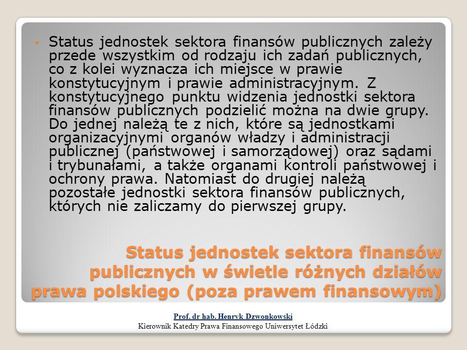 Status jednostek sektora finansów publicznych w świetle różnych działów prawa polskiego (poza prawem finansowym) Status jednostek sektora finansów pub