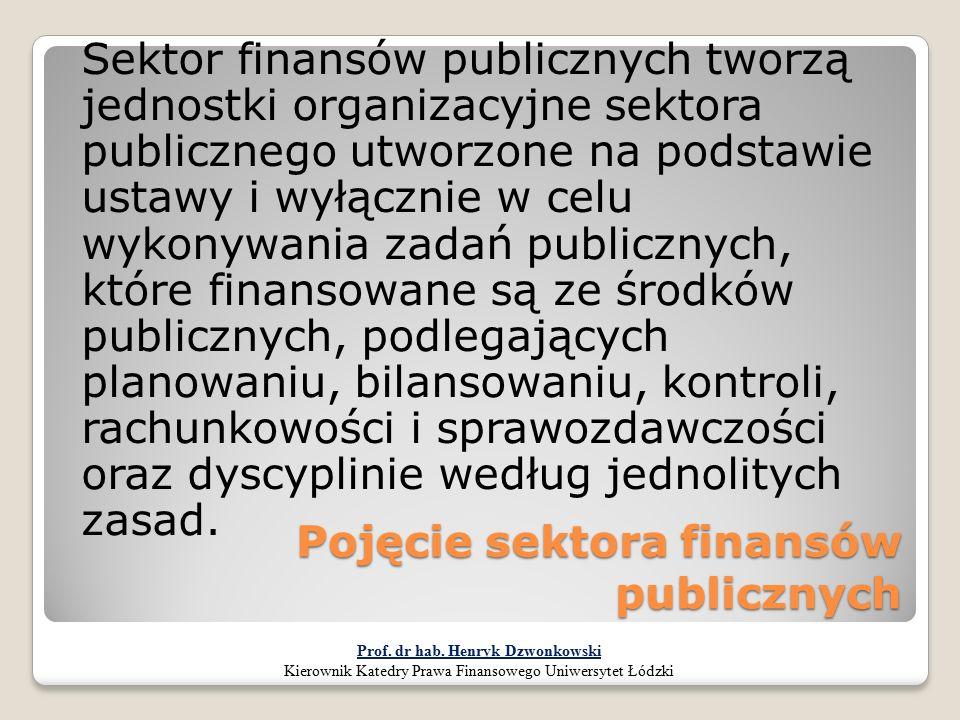 Pojęcie sektora finansów publicznych Sektor finansów publicznych tworzą jednostki organizacyjne sektora publicznego utworzone na podstawie ustawy i wy