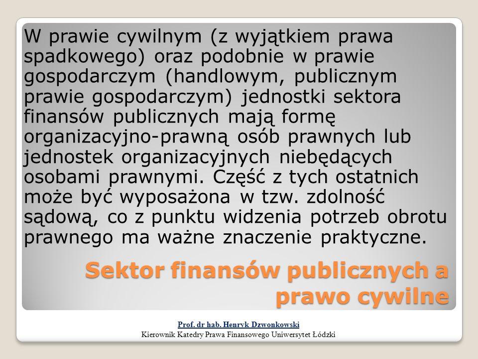 Sektor finansów publicznych a prawo cywilne W prawie cywilnym (z wyjątkiem prawa spadkowego) oraz podobnie w prawie gospodarczym (handlowym, publiczny