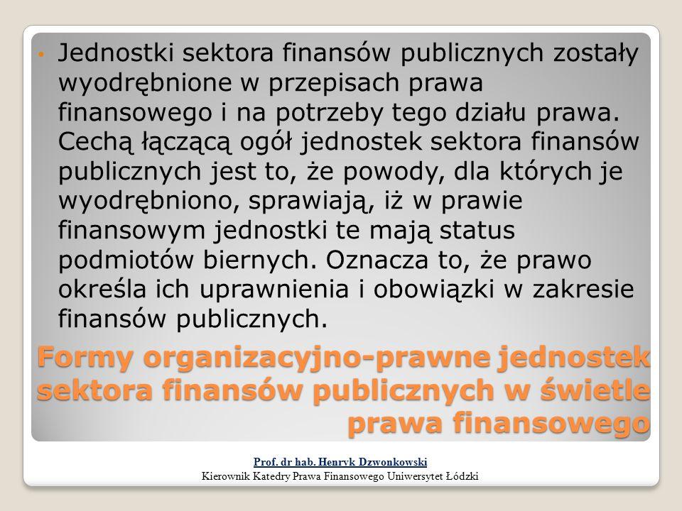 Formy organizacyjno-prawne jednostek sektora finansów publicznych w świetle prawa finansowego Jednostki sektora finansów publicznych zostały wyodrębni