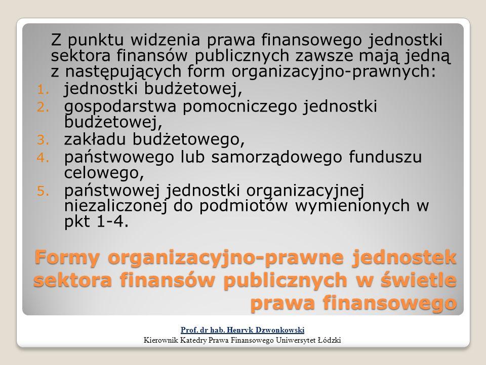 Formy organizacyjno-prawne jednostek sektora finansów publicznych w świetle prawa finansowego Z punktu widzenia prawa finansowego jednostki sektora fi