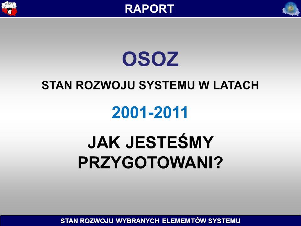 STAN ROZWOJU WYBRANYCH ELEMEMTÓW SYSTEMU RAPORT OSOZ STAN ROZWOJU SYSTEMU W LATACH 2001-2011 JAK JESTEŚMY PRZYGOTOWANI