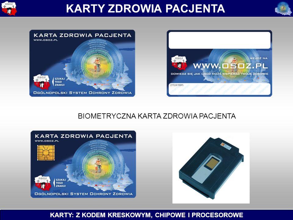 KARTY: Z KODEM KRESKOWYM, CHIPOWE I PROCESOROWE KARTY ZDROWIA PACJENTA BIOMETRYCZNA KARTA ZDROWIA PACJENTA