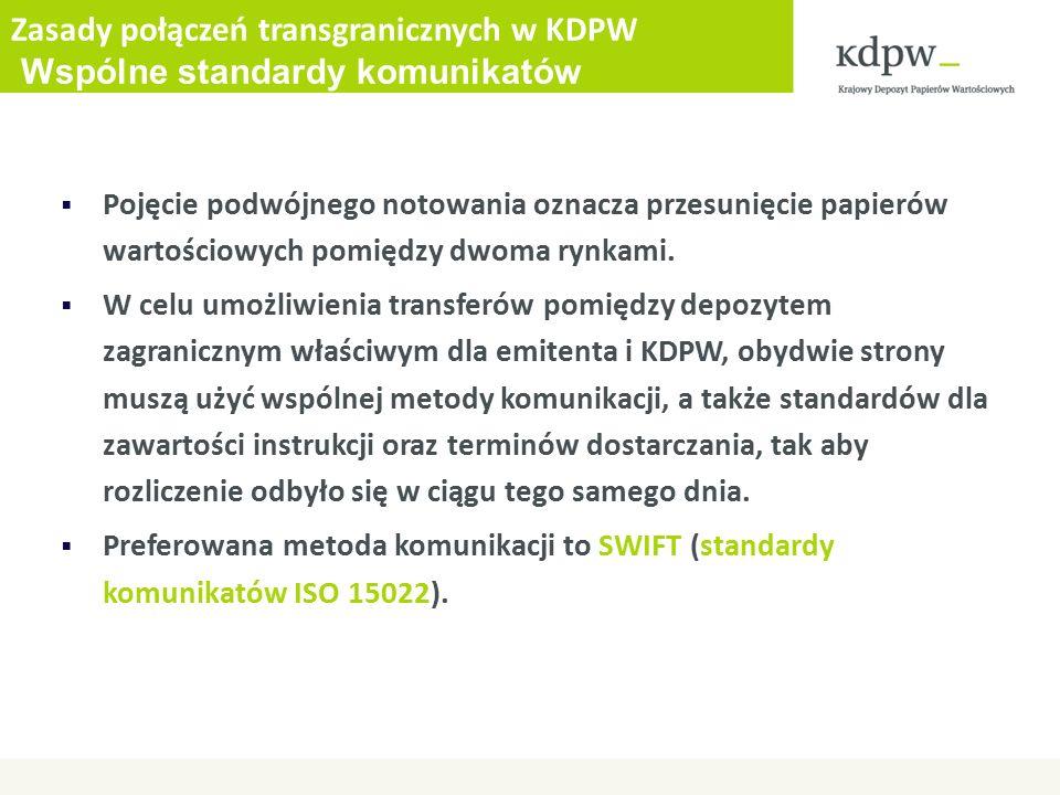 Zasady połączeń transgranicznych w KDPW Wspólne standardy komunikatów  Pojęcie podwójnego notowania oznacza przesunięcie papierów wartościowych pomiędzy dwoma rynkami.