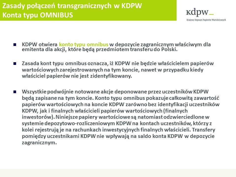 Zasady połączeń transgranicznych w KDPW Konta typu OMNIBUS KDPW otwiera konto typu omnibus w depozycie zagranicznym właściwym dla emitenta dla akcji, które będą przedmiotem transferu do Polski.