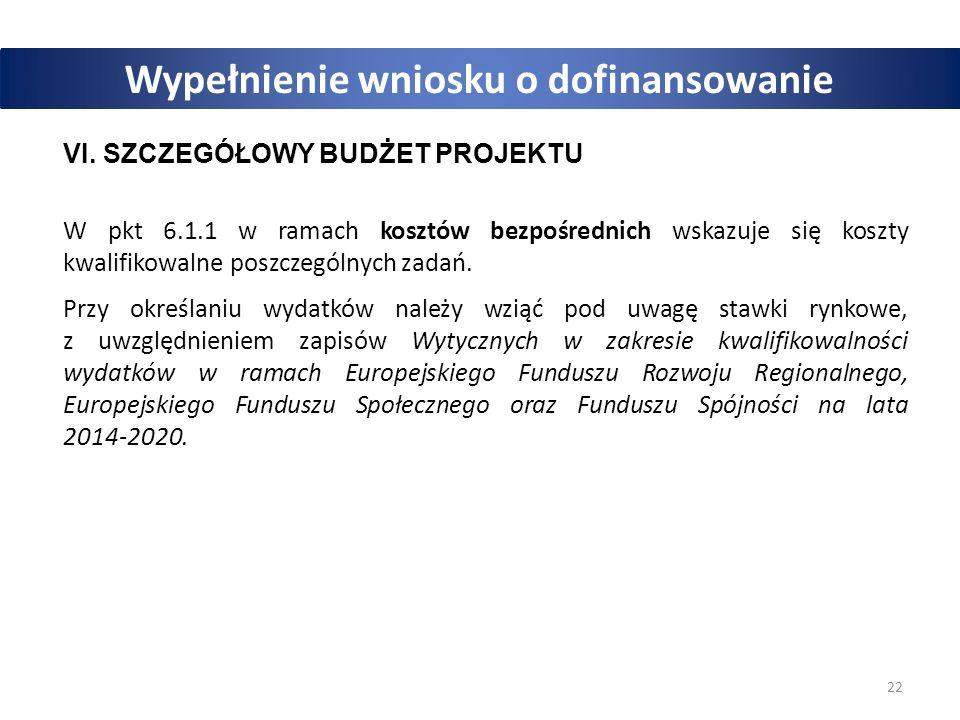22 Wypełnienie wniosku o dofinansowanie VI.