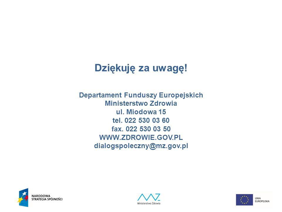 34 Dziękuję za uwagę. Departament Funduszy Europejskich Ministerstwo Zdrowia ul.