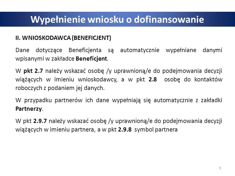 9 Wypełnienie wniosku o dofinansowanie II.