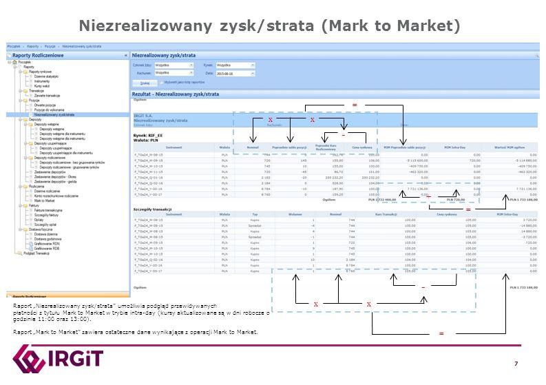 """7 7 7 7 Niezrealizowany zysk/strata (Mark to Market) - xx = + - xx = = Raport """"Niezrealizowany zysk/strata"""" umożliwia podgląd przewidywanych płatności"""