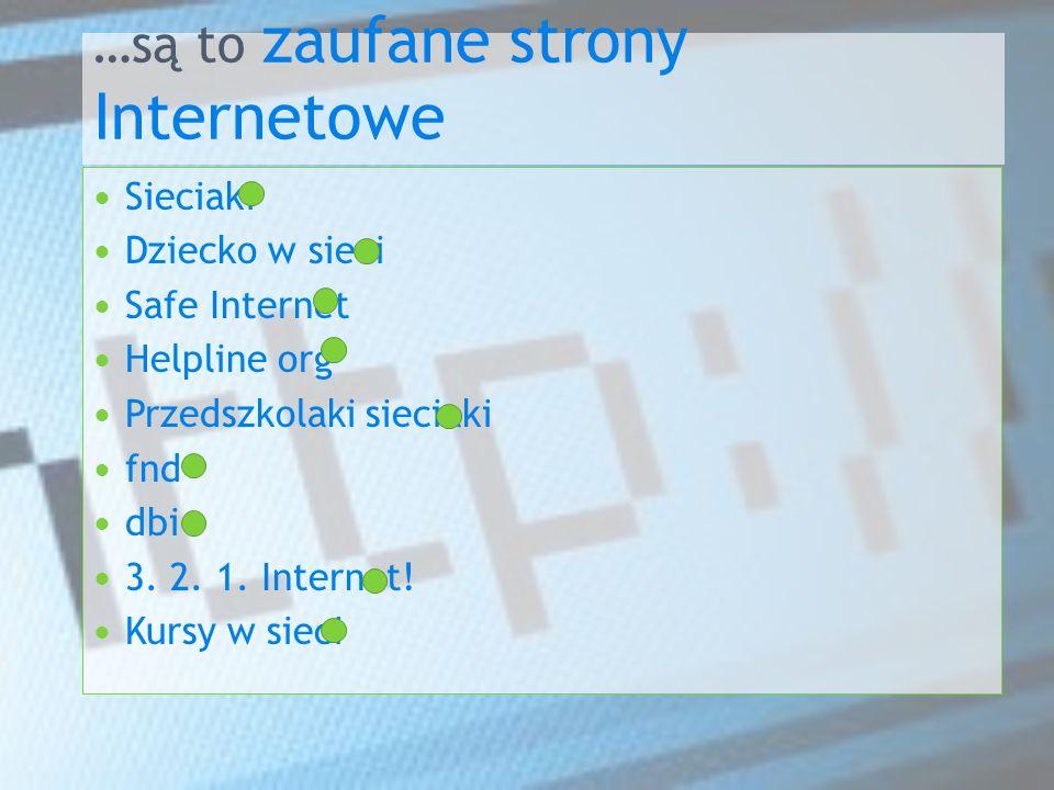 …są to zaufane strony Internetowe Sieciaki Dziecko w sieci Safe Internet Helpline org Przedszkolaki sieciaki fnd dbi 3.